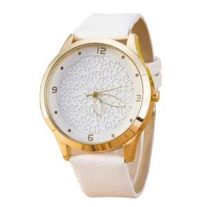 Луксозен дамски часовник Цвете - бял
