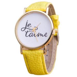 Дамски часовник I Love You - жълт