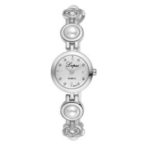 Луксозен дамски часовник с перли - сребрист