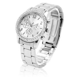 Луксозен дамски часовник с диаманти и метална верижка
