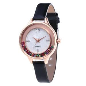 Дамски часовник с цветни топченца - черен