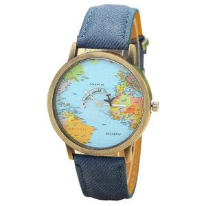 Елегантен унисекс часовник Traveller - дънков / син