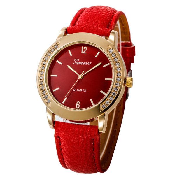 Луксозен дамски часовник с кристали - червен