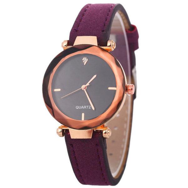 Елегантен дамски бизнес часовник - пурпурен