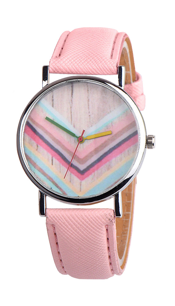 Красив дамски часовник Дъга - розов
