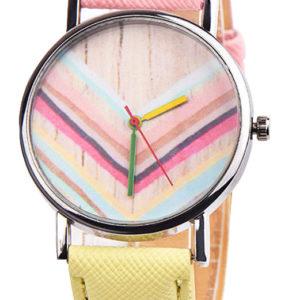 Красив дамски часовник Дъга - розов/жълт