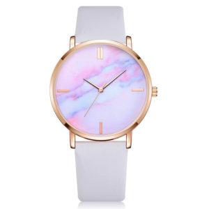Луксозен даски часовник - бял