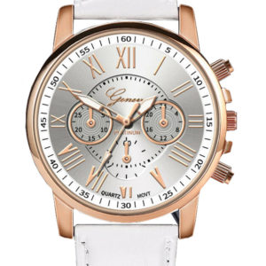 Луксозен дамски часовник Geneva - бизнес/бял