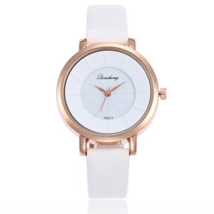 Луксозен минималистичен дамски часовник - бял