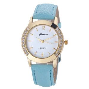 Луксозен дамски часовник Geneva с диаманти - син