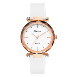 Луксозен дамски часовник Geneva - бял
