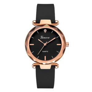 Луксозен дамски часовник Geneva - черен