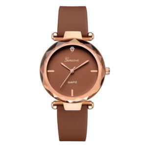 Луксозен дамски часовник Geneva - кафяв