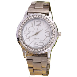 Луксозен дамски часовник с диаманти - сребрист