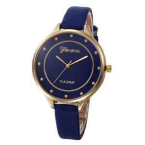Луксозен объл дамски часовник - син