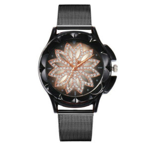 Луксозен дамски часовник Цвете - черен