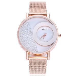 Луксозен дамски часовник с кристали - розово злато