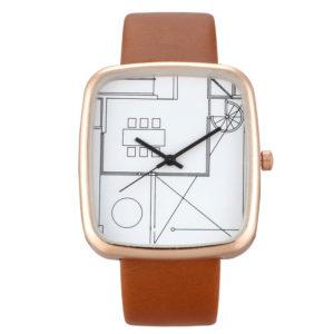 Стилен дамски часовник Архитект - бежов