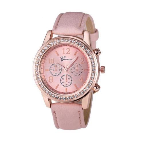 Луксозен дамски часовник с диаманти - розов