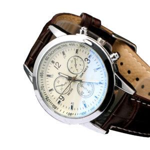 Мъжки луксозен бизнес часовник - кафяв/бял