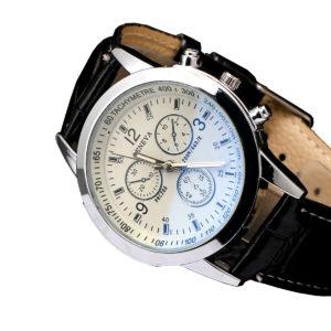 Евтин мъжки часовник - черно/бяло