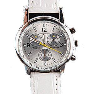 Луксозен мъжки часовник Faux крокодил - бял