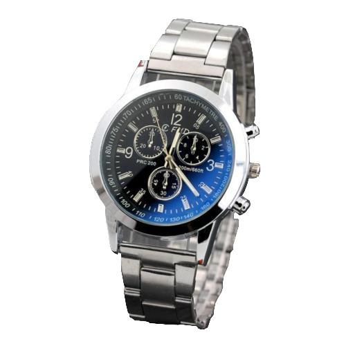 Луксозен мъжки часовник с метална верижка - сребрист