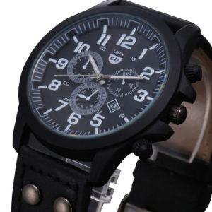 Луксозен мъжки водоустойчив часовник - черен