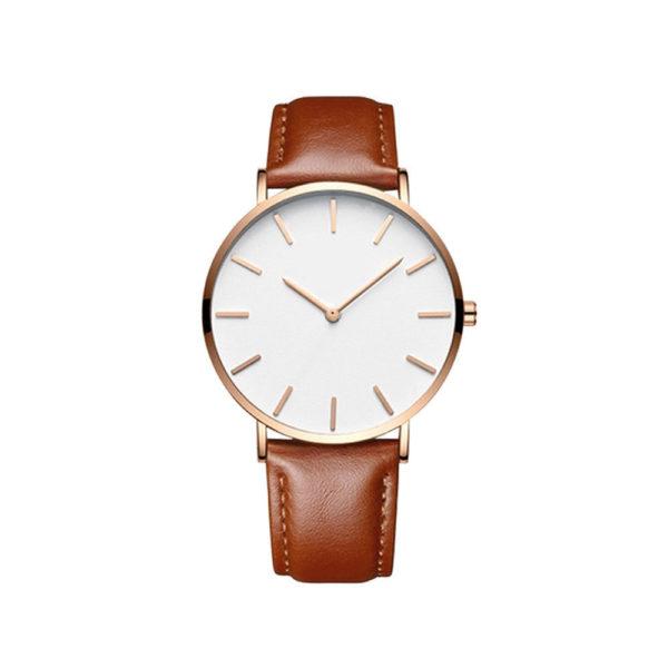 Луксозен унисекс бизнес часовник - кафяв