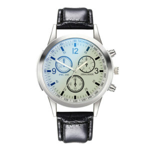 Мъжки бизнес часовник - бяло/черно