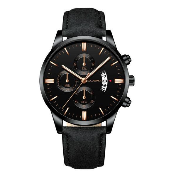 Елегантен мъжки спортен часовник – черно/черно