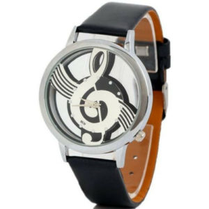 Стилен дамски часовник Симфония (музикален) - черен