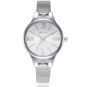 Луксозен тънък дамски часовник - сребро