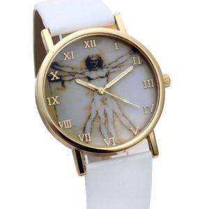 Стилен унисекс часовник Leonardo da Vinci - бял