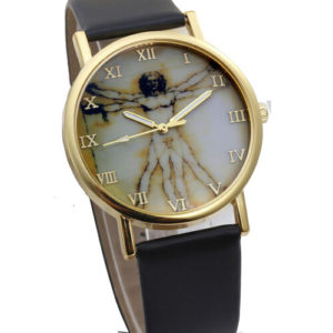 Стилен унисекс часовник Leonardo da Vinci - черен