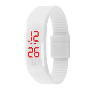 Спортен силиконов часовник - бял