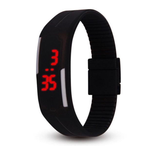 Спортен силиконов LED часовник - черен
